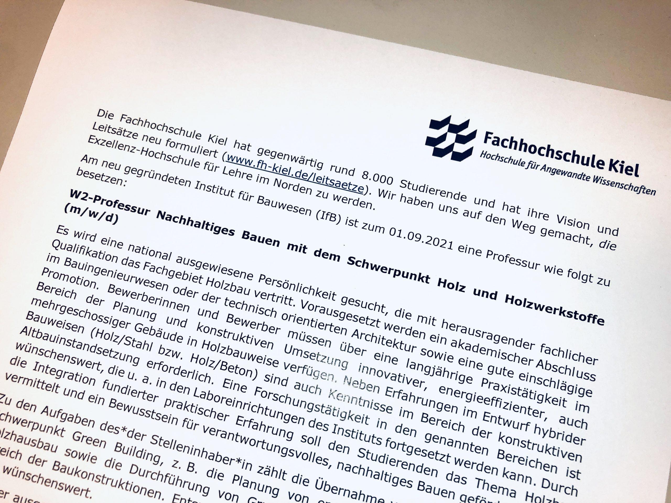 """Stellenausschreibung """"Stiftungsprofessur Holzbau"""" an der Fachhochschule Kiel"""