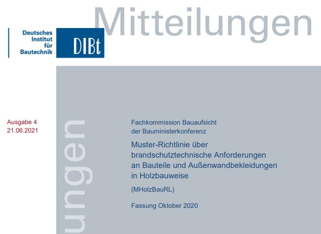 Neue Muster-Holzbaurichtlinie (M‐HolzBauRL) veröffentlicht